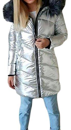 ARRIVE GUIDE Women's Fur Collar Hoodie Metallic Midi Parka Jackets Coats Silver L (Jacket Womens Jimmy)