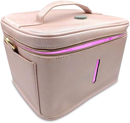 JJ CARE [Upgraded] UV Sterilizer Bag – Portable UV Light Sanitizer Bag with 9 Bead Lights, UV Cleaning Bag for Baby Items, Keys & More! Phone Sanitizer Bag (Pink)
