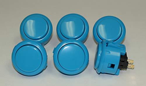 6pc Set of Sanwa OBSF-30-B Blue Push ()