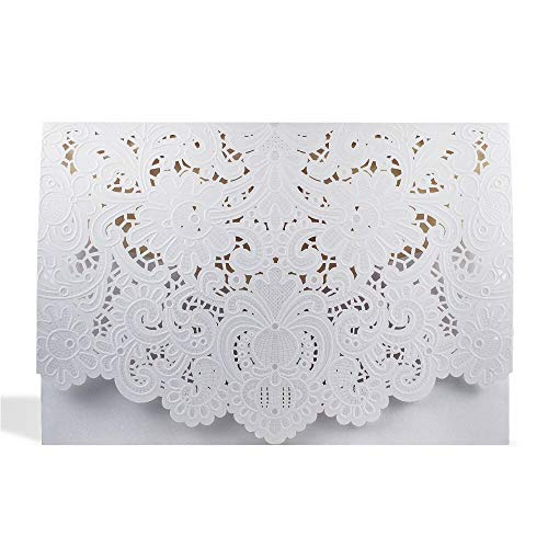 - Z&LiGy 20pcs Wedding Invitation Cards - Laser Cut Gold Foil and Floral Design Invitation Pockets for Bridal Showers, Engagement Parties(White)