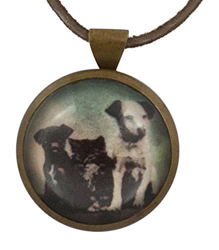 (Rebecca Ray Designs 2 Dogs and Cat Rosette Pendant Brown Leather Cord Necklace, 19