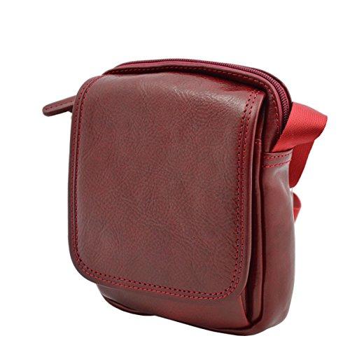 Borsa A Tracolla In Vera Pelle Color Rosso - Pelletteria Italiana - Borsa Uomo