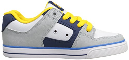 DC Shoes Pure B Shoe Grf - Zapatillas de Deporte de otras pieles niño Weiß (WHITE/GREY/BLUE - XWSB)