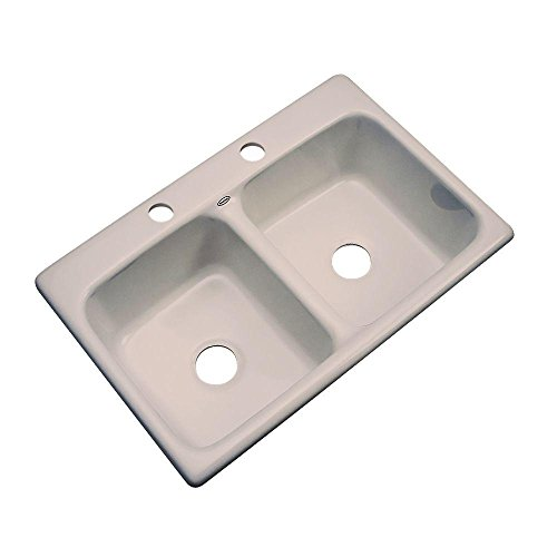 Thermocast Newport 33 In. x 22 In. Cast Acrylic Double Bowl Kitchen Sink, Fawn Beige