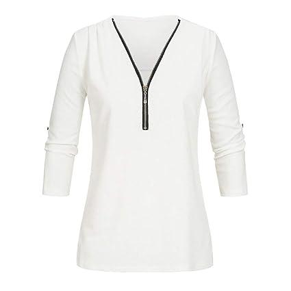 36fff8e7336f06 Amazon.com  Big Promotion! Teresamoon Womens Casual Tops Shirt Ladies V Neck  Zipper Loose T-Shirt Blouse Tee Top  Arts