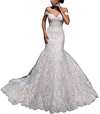 Fenghauvip Mermaid Wedding Dress Off The Shoulder Bride Dress Lace Up Back Long Train