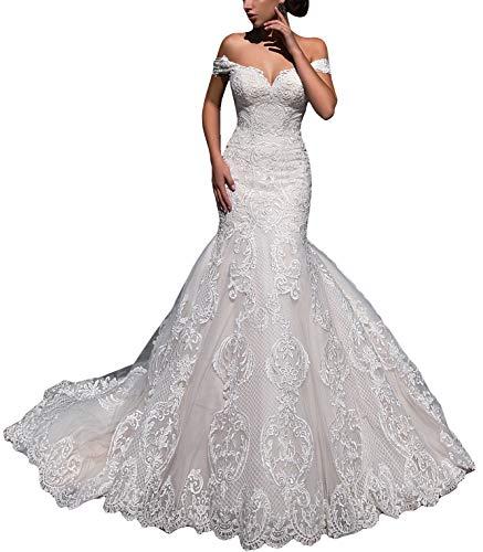 Fenghauvip Mermaid Wedding Dress Off The Shoulder Bride Dress Lace Up Back Long Train White