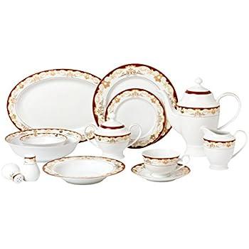 Lorren Home Trends 57 Piece \u0027Mabel\u0027 Bone China Dinnerware Set (Service for 8  sc 1 st  Amazon.com & Amazon.com | Lorren Home Trends 57 Piece \u0027Mabel\u0027 Bone China ...