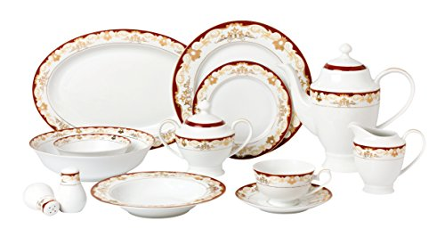 China Home - Lorren Home Trends 57 Piece 'Mabel' Bone China Dinnerware Set (Service for 8 People), Burgundy