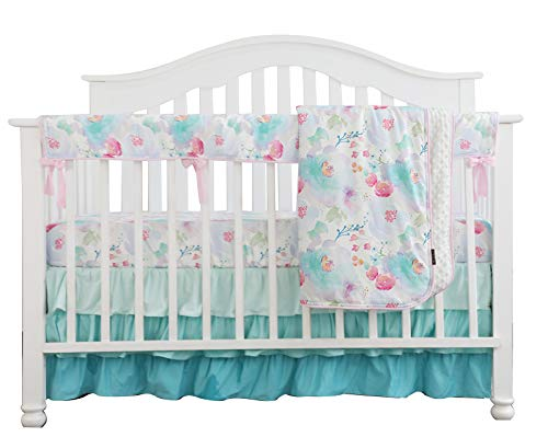 Sahaler Crib Rail Guard Set Boho Floral Nursery Baby Bedding Ruffled Crib Skirt Crib Rail Cover Set (Romantic Blooms Floral)