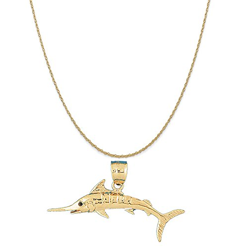 14k Yellow Gold Marlin Pendant on a 14K Yellow Gold Rope Chain Necklace, 16