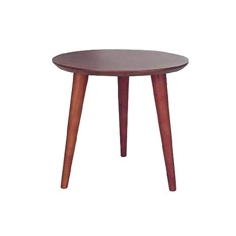 Amazon.com: HPLL Mesa auxiliar de madera maciza, redonda ...