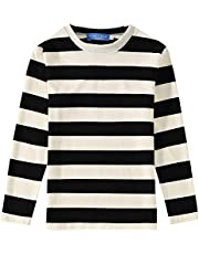 SSLR Big Boys' Cotton Round Neck Casual Long Sleeves Stripe T-Shirt