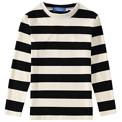 Black And White Striped Shirt Halloween Costume (SSLR Big Boys' Cotton Crew Neck Casual Long Sleeves Stripe T-Shirt (Medium(10-12), White)