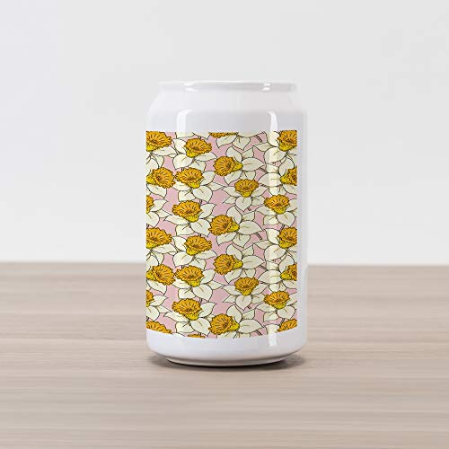 Ambesonne Yellow Flower Cola Can Shape Piggy Bank, Playful Spring with Narcissus Daffodils Flourish Graphic Garden, Ceramic Cola Shaped Coin Box Money Bank for Cash Saving, Yellow Cream Pale Pink