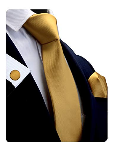 GUSLESON Brand Men's silk Solid Gold Yellow Tie Neckties and Pocket Square Cufflinks Sets (0789-11)
