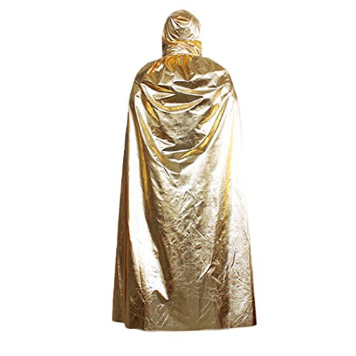 Sexy Velma Costumes (Oksale Halloween Death Hooded Cloak Coat Wicca Robe Cape Shawl Halloween Party Satin Long Streetwear (Gold))