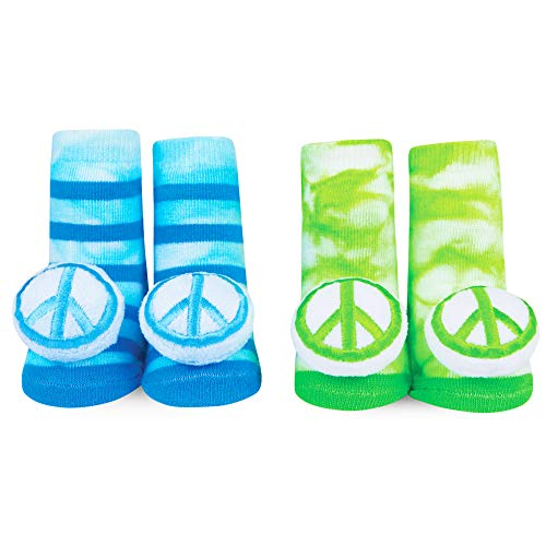WADDLE Cute Unisex Peace Sign Green and Blue Tie Dye Newborn Baby Rattle Socks 0-12 M