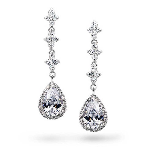 Bling Jewelry CZ Pave Teardrops Clover Drop Earrings Rhodium Plated