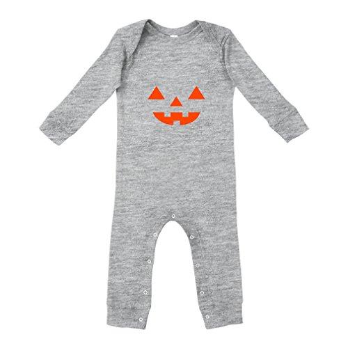 Cute Rascals Halloween Pumking Face Cotton Long Sleeve Envelope Neck Unisex Baby Legged Long Rib Coverall Bodysuit - Oxford Gray, 18 Months]()