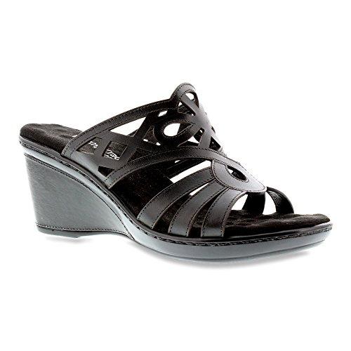 Walking Cradles Womens Logan Wedge Sandal Black Soft Antanado Leather zXcnJpM