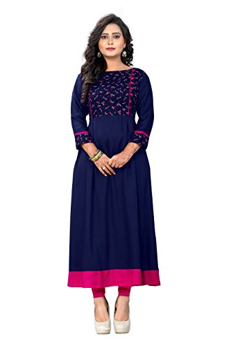 Delisa Womens Multi Designer Women Straight Multi Design Printed Kurti for Women Tunic Top r 3/4 Sleeve Dress 7 (Blue-115, XL-42)