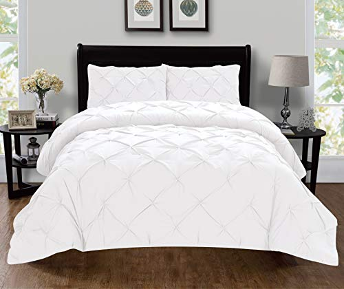 Elegant Comfort Luxury Super-Soft Coziest 1500 Thread Count Egyptian Quality 3-Piece Pintuck Design Duvet Cover Set, (Insert Comforter Protector) Wrinkle-Free, California King, White