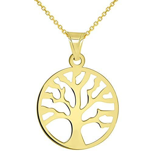 Solid 14k Yellow Gold Round Shaped Tree of Life Disc Pendant Necklace 16