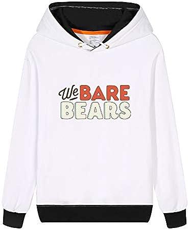 Vhunkjnr We Bare Bears Pullover Lindo Impreso Simple Camiseta de la Historieta Sudadera con Capucha Unisex de Estilo Deportivo Unisex