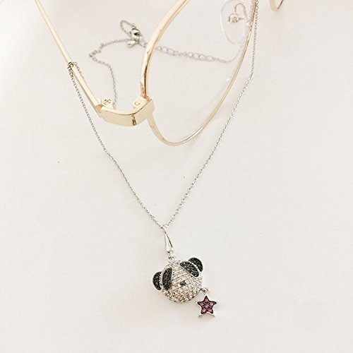 Generic New cartoon animal pet puppy dog ??necklace Micro Pave clavicle chain jewelry accessories women girls lady panda diamond pendant by Generic (Image #3)