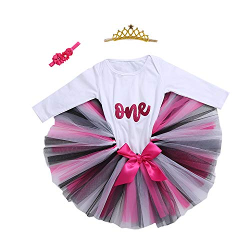 Baby Girls 1st Birthday Bling One Romper Tutu Skirt Flower Crown Headband (Rose Black01, 9-12Months) ()