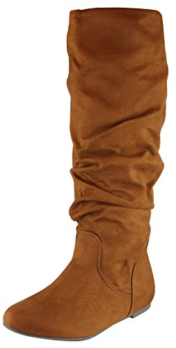 (Cambridge Select Women's Slouchy Knee High Flat Boot (7.5 B(M) US, Dark Tan IMSU))