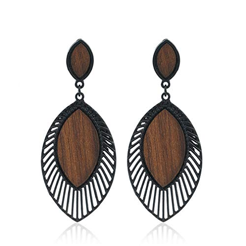 Alloy Wood Grain Earrings for Women Leaf Shape Big Statement Beautiful Earrings