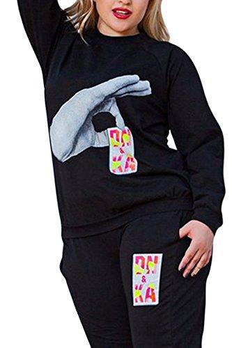 Selowin Women Winter Black Plus Size Long Sleeve Sweatshirts Tracksuit Set 3XL