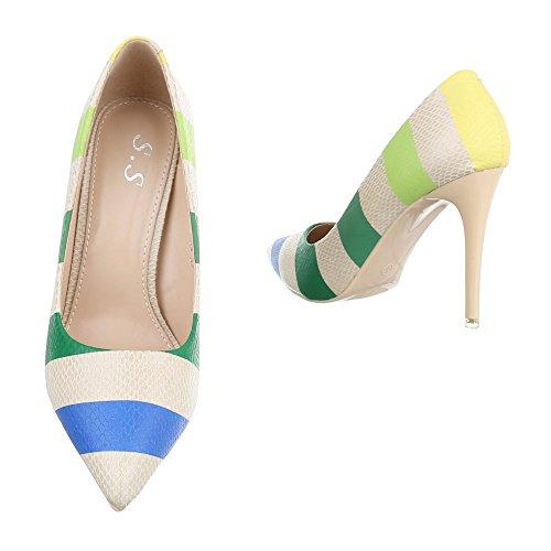 Ital-Design High Heel Damenschuhe Plateau Pfennig-/Stilettoabsatz High Heels Pumps Beige Multi