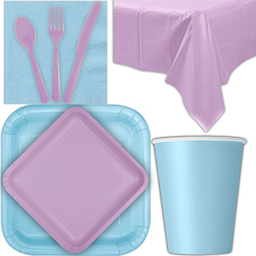 Disposable Party Supplies for 28 Guests - Powder Blue and Lavender - Square Dinner Plates, Square Dessert Plates, Cups, Lunch Napkins, Cutlery, and Tablecloths: Premium Quality Tableware Set