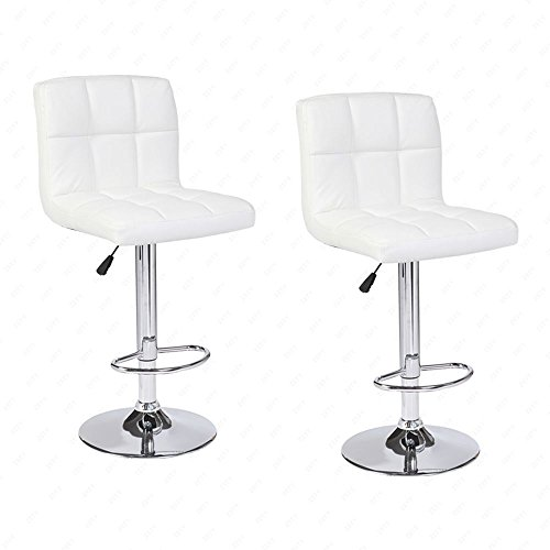 Mecor Adjustable Swivel Leather Bar Stools Hydraulic Counter Height Square Kitchen Dining Chairs with Chrome Base,Set of 2 (White) Chrome Dining Room Bar Stool
