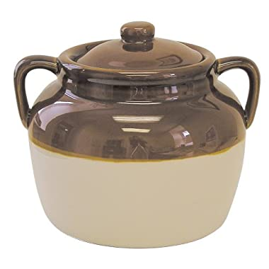 R & M International 4.5 Quart Large Ceramic Bean Pot, Brown