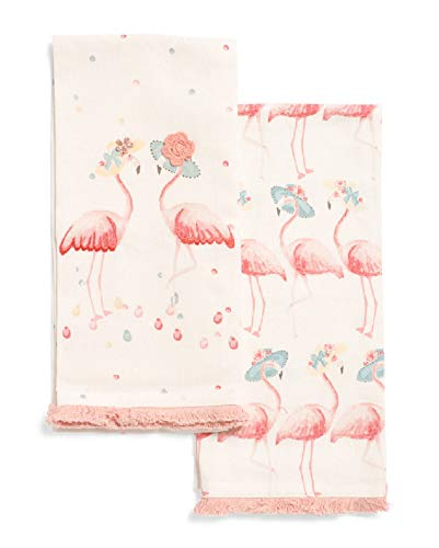 Embroidered Pink Flamingo Duo in Hats Kitchen Towel Set of 2 Cotton Decorative Tea Towels for Dish and Hand Drying (Polka Dot Flour Sack Towels)