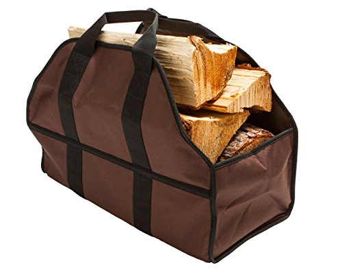 Egooz Firewood Log Carriers & Holders Heavy Duty Canvas Firewood Tote Fireplace Log Carrier (Brown)