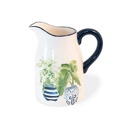 Topiary Plants Dark Blue and White 22 ounce Glossy Ceramic Pitcher With Handle