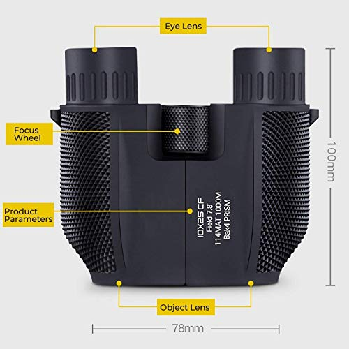 Waterproof 10x25 Binocular with Low Light Night Vision Large Eyepiece Easy Focus for Outdoor Hunting Bird Watching...