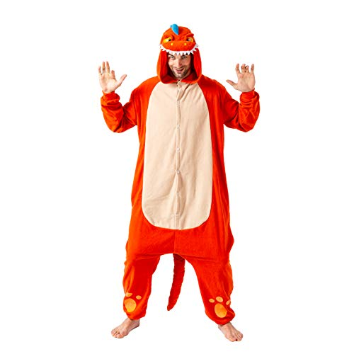Spooktacular Creations Unisex Adult Pajama Plush Onesie One Piece Orange Dinosaur Animal Costume