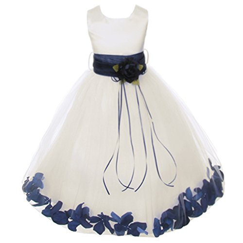 Big Girls Ivory Sleeveless Satin Bodice Floating Flower Petals Girl Dress with Matching Organza Sash and Double Tulle Skirt - Navy Blue Set - Size 8