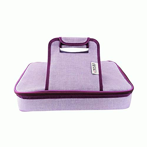 Premium Thermal Insulated Stylish Casserole Carrier to Tote and Keep Best Lasagna Potluck Picnic Holiday Dish & Recipes Hot or Cold for Hours by Domestic Diva LA (Lavender) ()