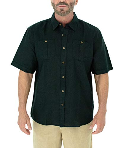 Short Fin Men's Short Sleeve 100% Linen Shirt with 2 Front Pockets (Black, Size Large L8042L) ()