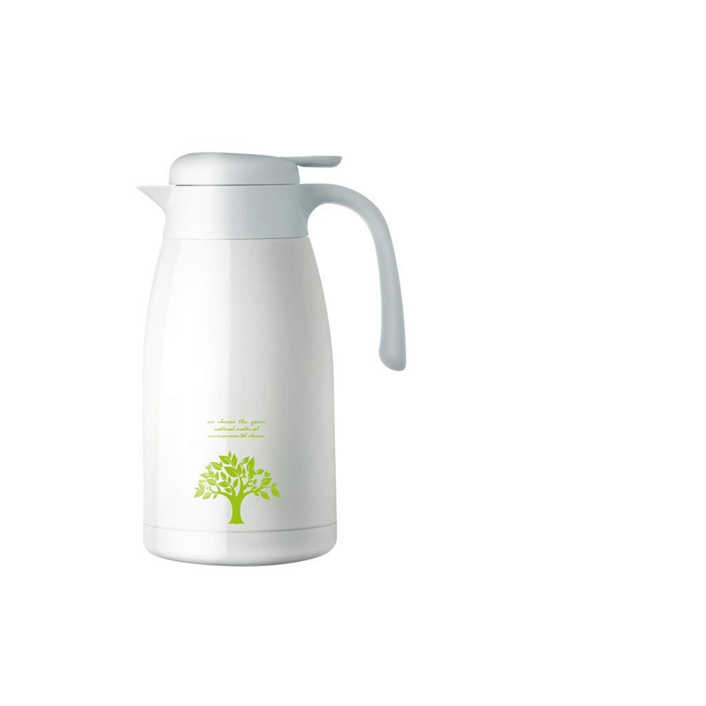 FYJK Water Pitcher with Lid Handle Large Capacity Insulation Pot Home European 304 Stainless Steel Warm Kettle 2 Liter Kettle Water Bottle Stainless Steel,White by FYJK