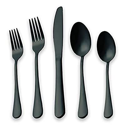 HOMQUEN Black Flatware Set 20 Piece Service for 4, Black Titanium Plated Stainless Steel Silverware set Service for 4 (Shiny, Black) - 20 Piece Black Flatware Set : 4 Pieces Dinner Knife, 4 Pieces Dinner Fork ,4 Pieces Dessert Fork, 4 Pieces Dessert Spoon, 4 Pieces Big Tea Spoon Craft : Black Flatware crafted from 18/0 Stainless Steel, completed electroplated with titanium black , rust proof, high hardness, Lead-free, Cadmium-free, Phthalate-free, BPA-free durable and eco-friendly Application - Perfect Ideal for Weddings,Valentine's Day,Catered events,party,Family reunion,Upscale catering,Theme restaurant, or home dinner. Perfect Gift for Wedding Housewarming Birthday Mother's Day Restaurant, or home dinner, and much more - kitchen-tabletop, kitchen-dining-room, flatware - 41JnW%2BcHK1L. SS400  -