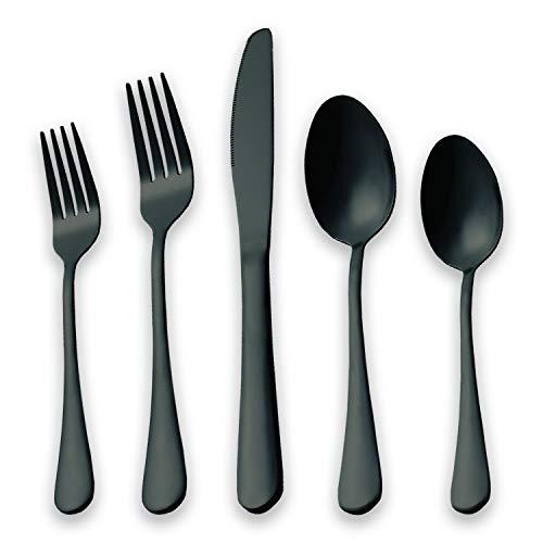 HOMQUEN Black Flatware Set 20 Piece Service for 4, Black Titanium Plated Stainless Steel Silverware set Service for 4 (Shiny, -