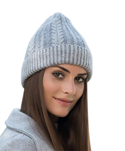 Genovega Women Men Winter Beanie Hat - Cashmere Wool Acrylic Cable Thick Knit Knitted Warm Watch Stocking Skull Knit Caps Grey Cashmere Cable Knit Hat